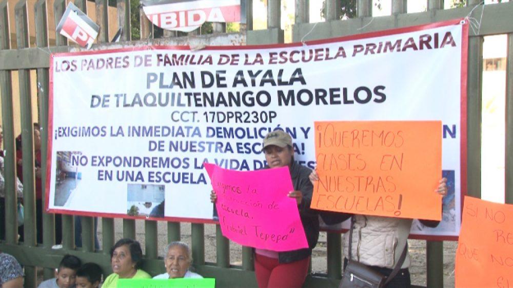 PROTESTAN EN MORELOS POR ESCUELAS NO RECONSTRUIDAS